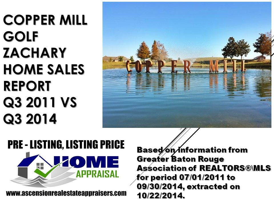 Copper Mill Golf Zachary Louisiana Home Sales Q3 2011 vs Q3 2014