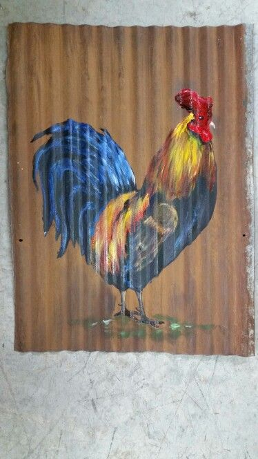 Rooster painted on rusty tin