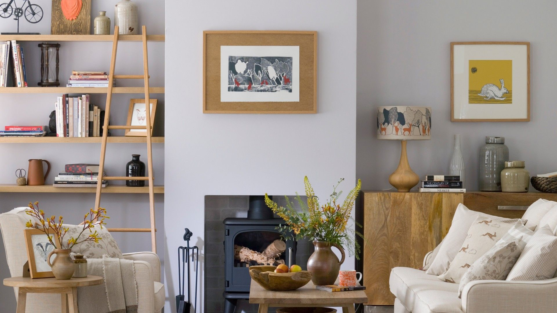 country living room with wood burning stove  the room