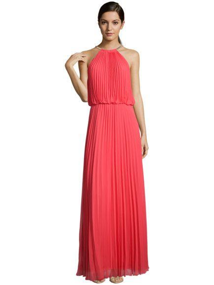 JAKES-COCKTAIL Abendkleid mit Plisseefalten und Collierkragen in Rot ...