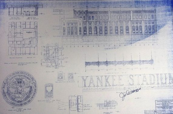 Old Yankee Stadium Blueprint on Etsy, $1899 Photos Art - new old blueprint art
