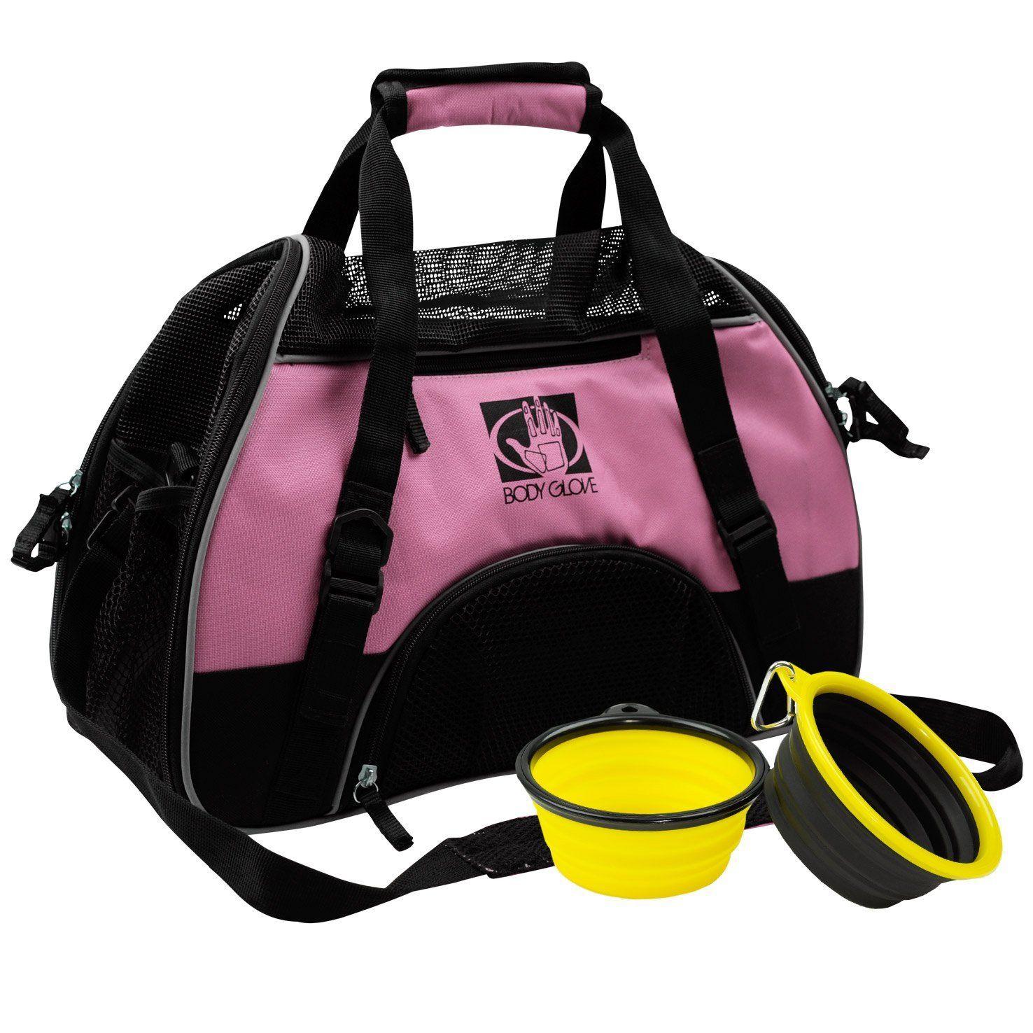 Body Glove Pet Carrier With 2 Bowls And Fleece Mat, Black
