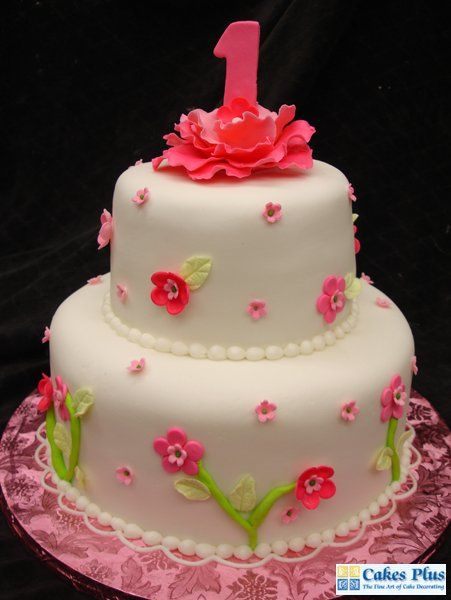 Girls first birthday cake by Cakes Plus bakery in Tampa FL All