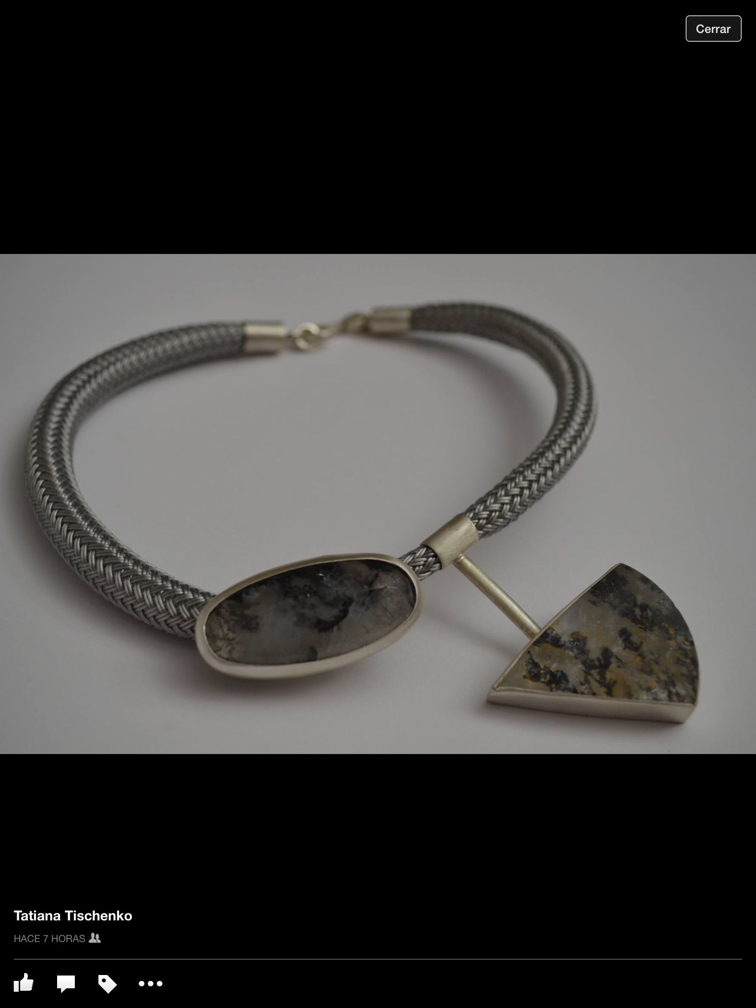Hand crafted necklace made of sterling silver, semi precious stones ...