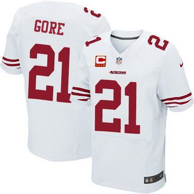 e2581eff8 Nike San Francisco 49ers  21 Frank Gore White C Patch Elite Jersey ...