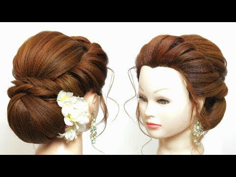 New Bridal Hairstyle Tutorial For Long Hair. Easy Party Low Bun Updo .