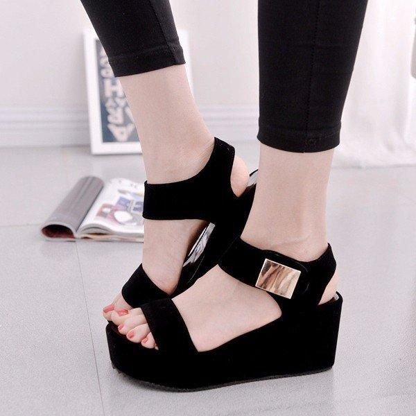 4f55f6408b4 Black Pu Korean Style Metal Platform Hook Loop Peep Toe Gladiator Sandals