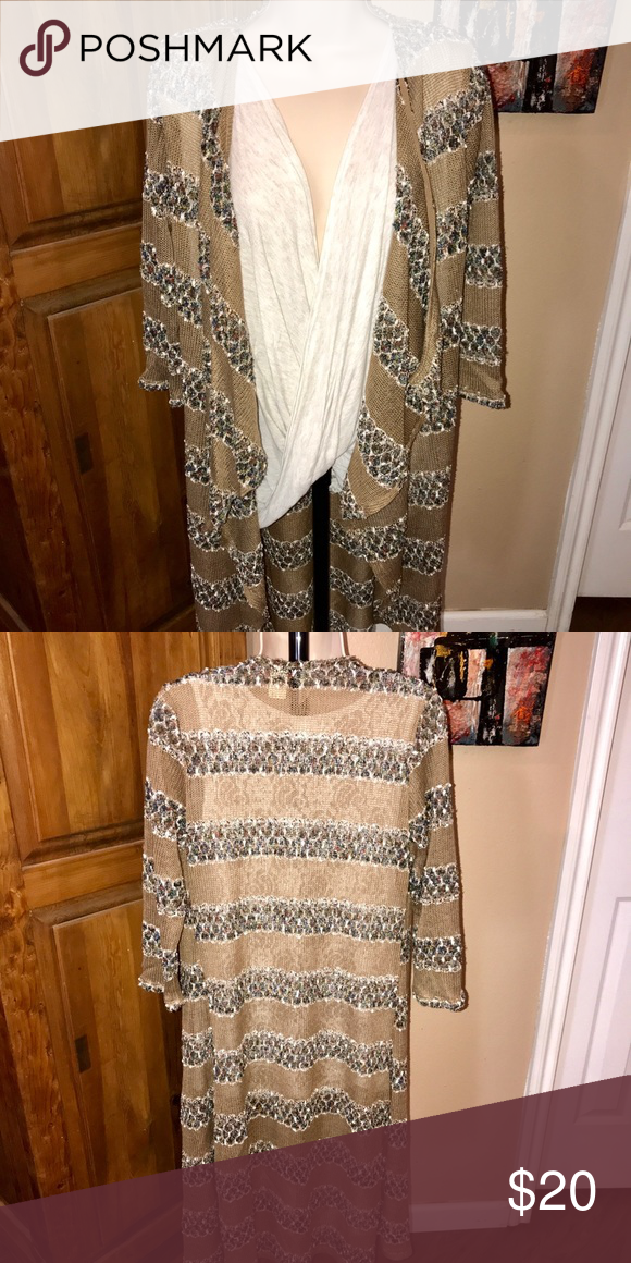 😍BKE MULTI PATTERN DUSTER😍 IN EXCELLENT CONDITION! 100% ACRYLIC LIGHT BROWN WITH STRIPES OF MULTIPLE COLORS OF WHITE, GREEN, RUST...LIGHT WEIGHT BKE Jackets & Coats