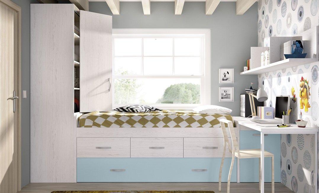 Cama compacta moderna para un dormitorio juvenil. ¿En que color la quieres? Podemos hacerla en infinidad de colores. La habitación perfecta de tus hijos ahora si es posible. Te esperamos en nuestra tienda del centro de Madrid