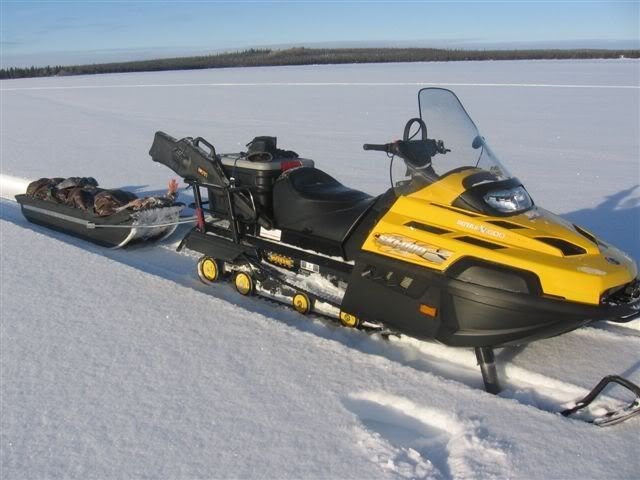 Dream ice fishing sled ski doo swt v800 ice fishing for Ice fishing snowmobile