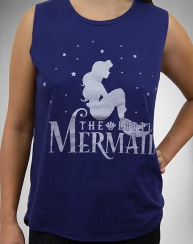 The Little Mermaid Silhouette Junior Fitted Muscle Tank