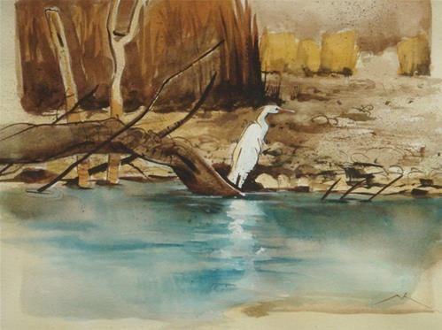"""Daily Paintworks - """"Bird"""" - Original Fine Art for Sale - © Michael Mikolon"""