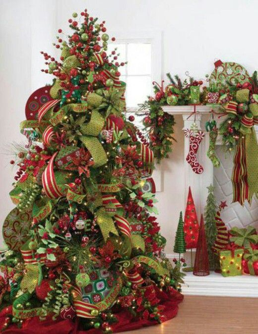 Green and red elf land berry and ribbon tree