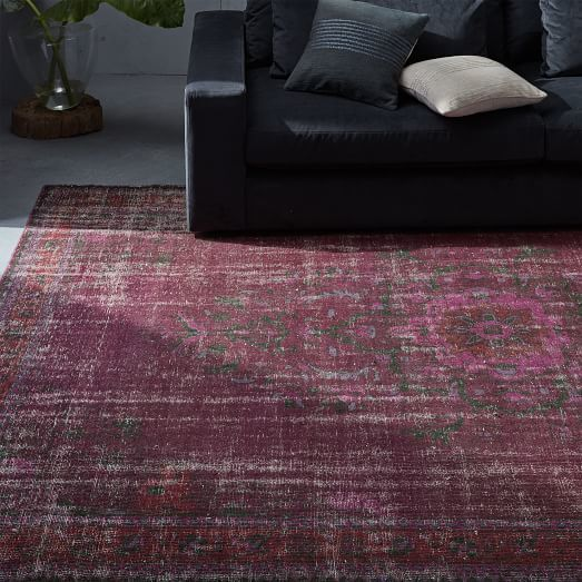 West Elm Caspian Distressed Rug Pomegranate Distressed Rugs Rugs