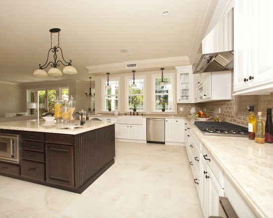 Flooring Archaic Pictures Of Kitchens With Tile Floors Contemporary Kitchen Huge Island White Marble Countertop Elegant