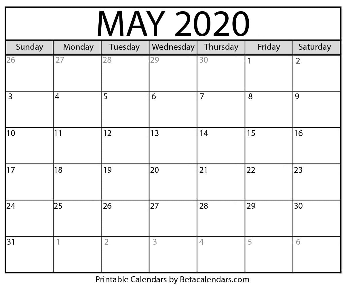 Printable May 2020 Calendar Calendar Printables Printable