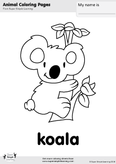 Free koala coloring page from Super Simple Learning. Tons