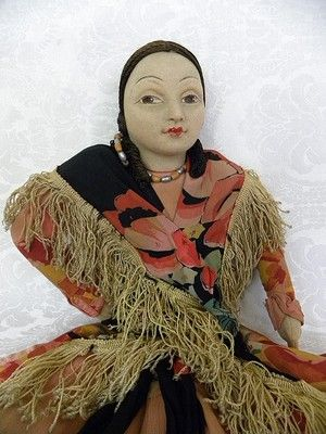 Details about Rare 21 Norah Wellings Cloth Lingerie Spanish Doll Great Molded Face c 1920s #spanishdolls