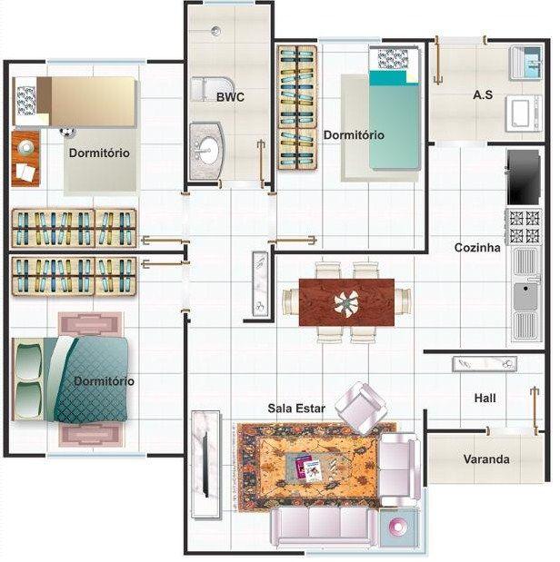 Plano de casa tres dormitorios una planta casa - Planos casa una planta ...
