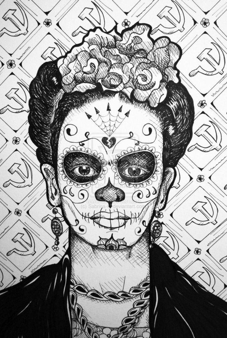 All of Frida Kahlo Paintings | Frida Kahlo Ink Drawing by Sabrina-O on deviantART