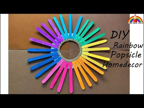 DIY Rainbow Popsicle Home decor by coloring book #DIYwalldecor #homedecor #decorationideas #popsicle - YouTube