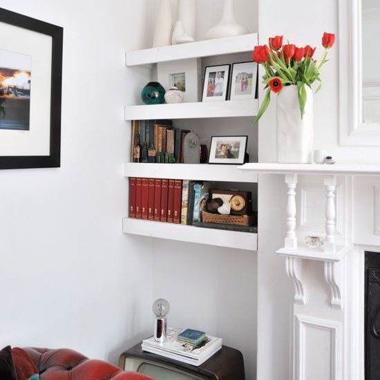 Shelving ideas alcove alcove storage and shelving ideas - Storage solutions for small living rooms ...