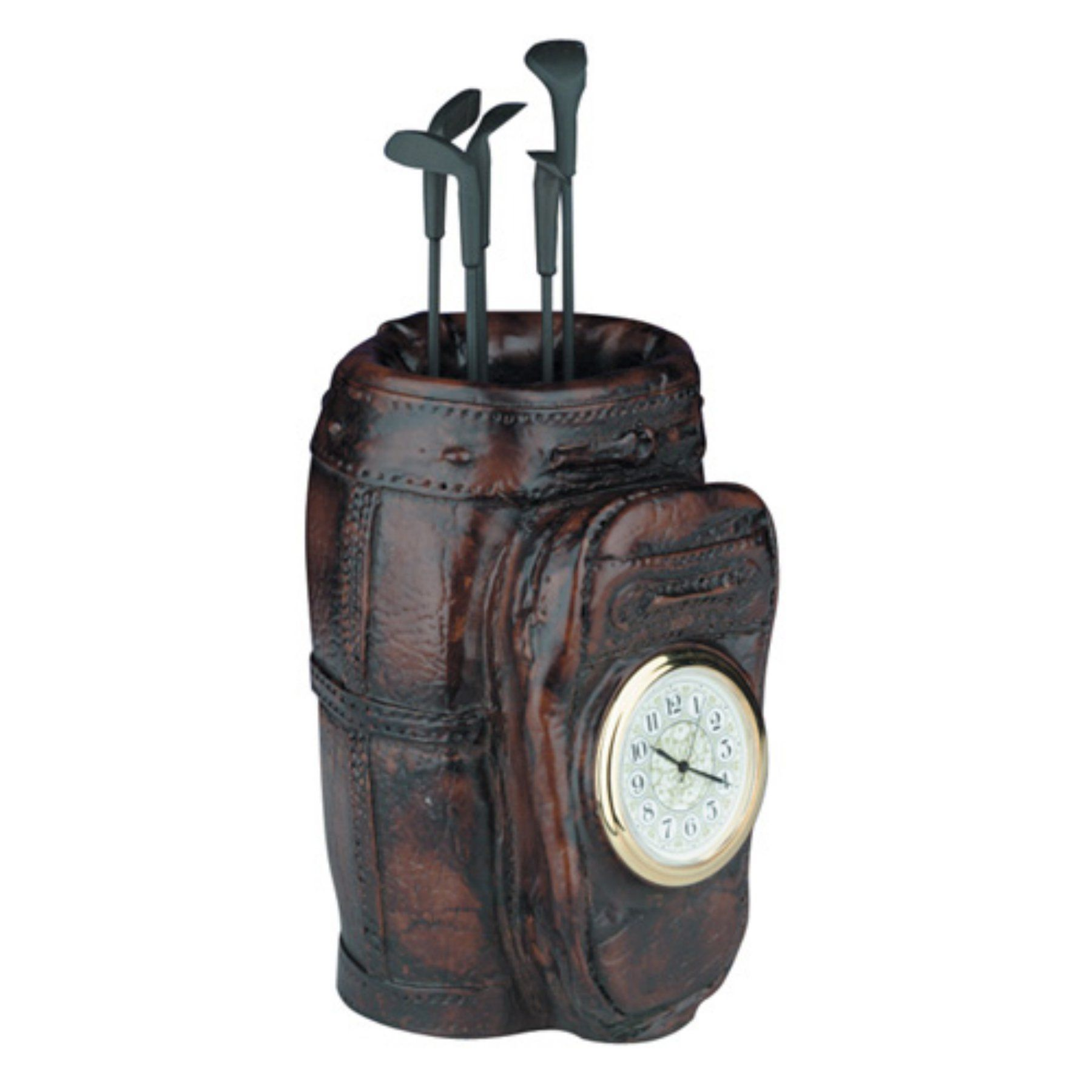Golf Bag Desktop Clock with Clubs - 0317-C-BW