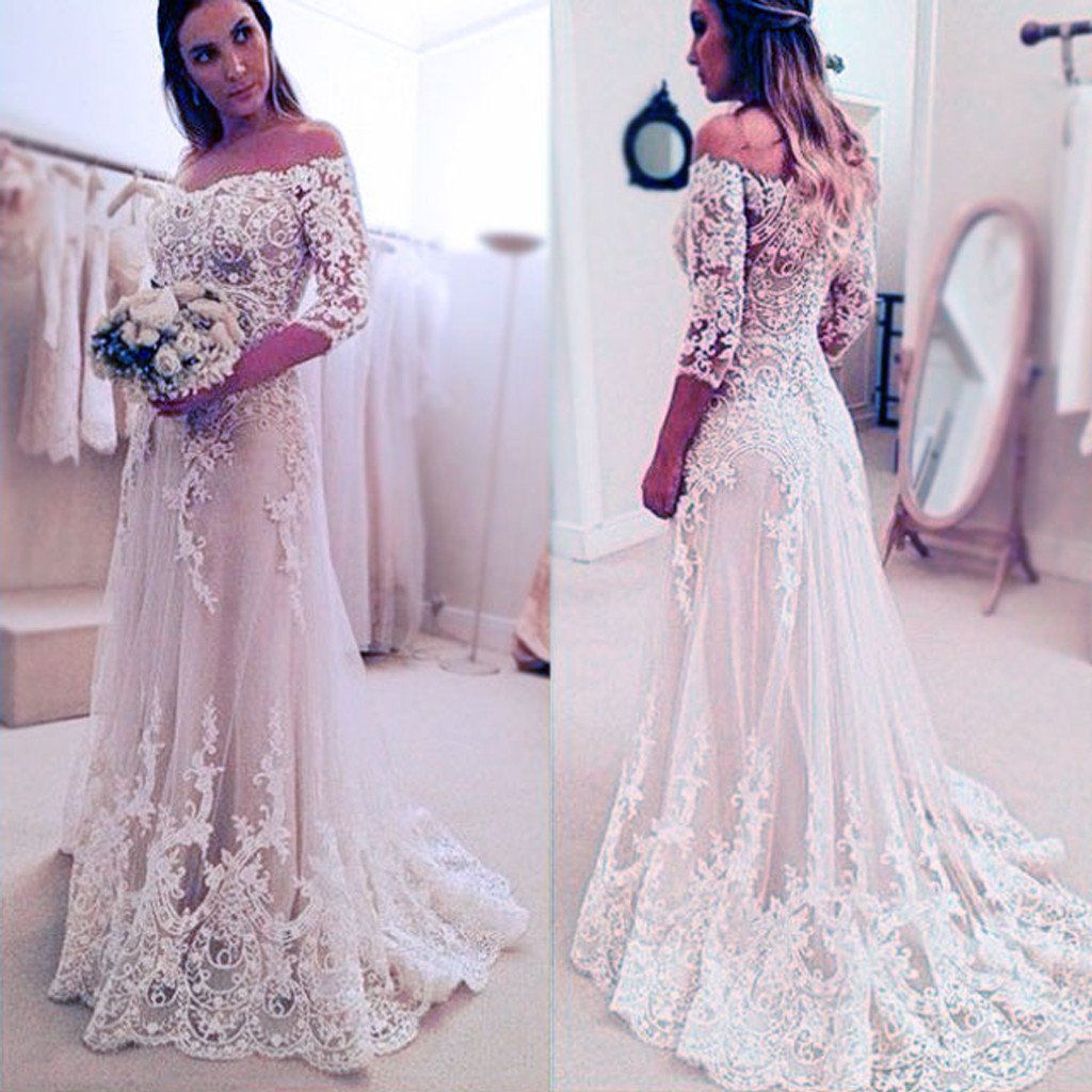 Stunning off shoulder half sleeve long aline wedding party dresses