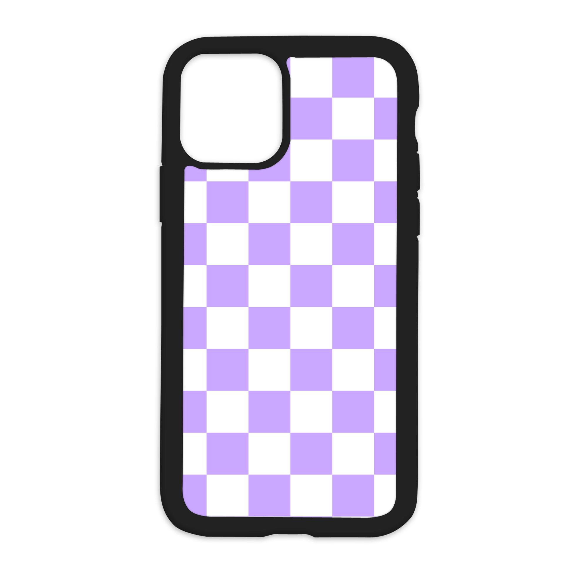 Checkered Design On Black Phone Case - 6/6s / Purple