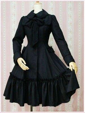 Autumn Black Gothic Lolita Cotton Coat - DevilInspired.co.uk