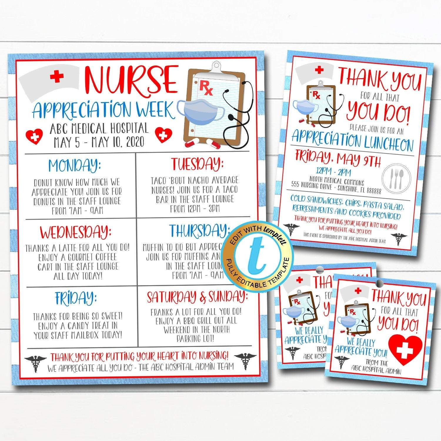 Hospital Staff Nurse Appreciation Week INSTANT DOWNLOAD Template Thank You Healthcare Workers Event Nurse Appreciation Luncheon Invitation