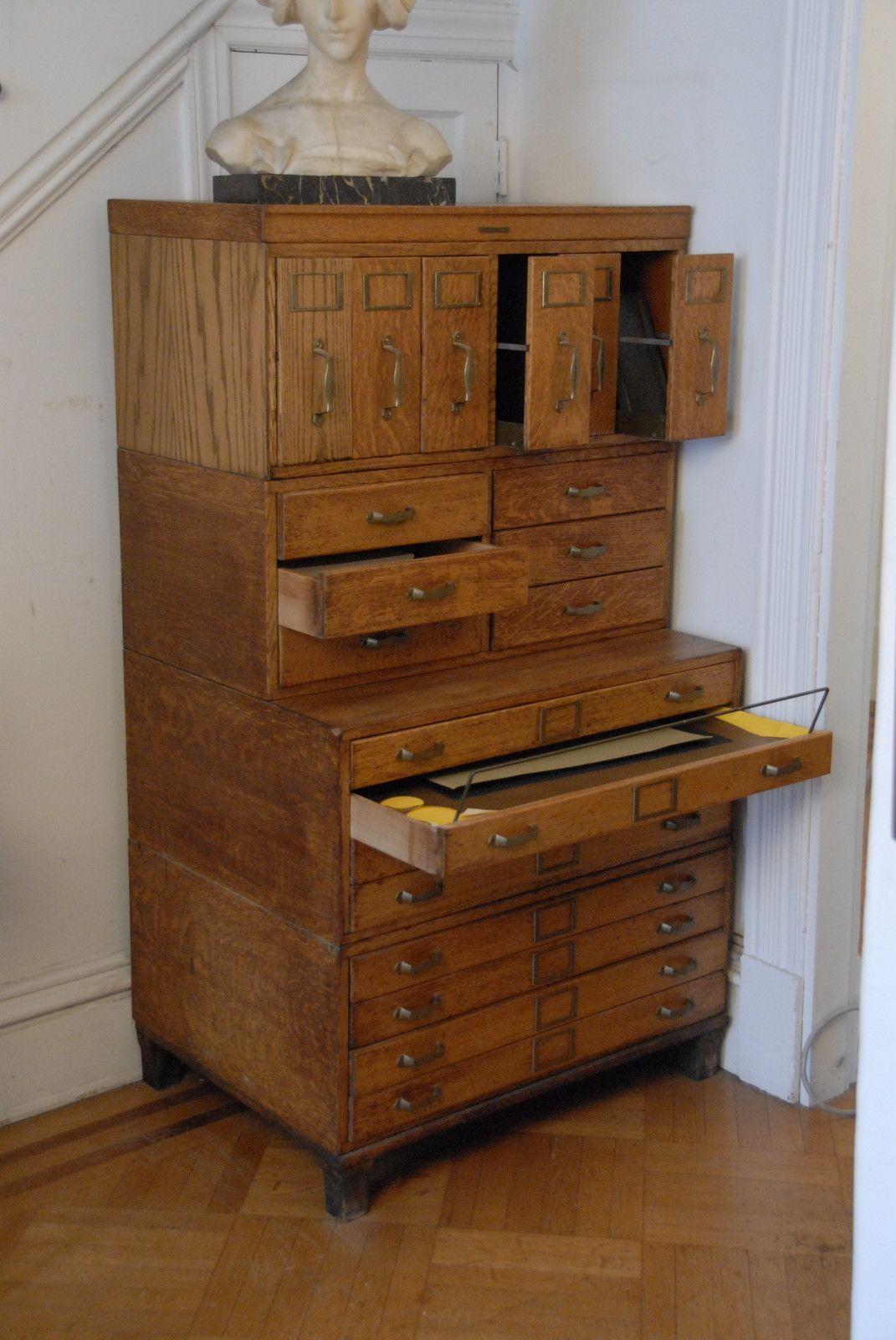 Antique Oak Library Bureau Sole Makers Filing Cabinet Bureau ...