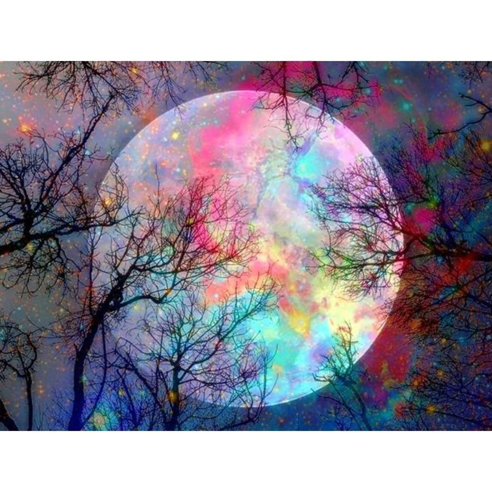 5D Full Drill Diamond Painting Moon Scenery Pattern DIY Cross Stitch Wall Decor