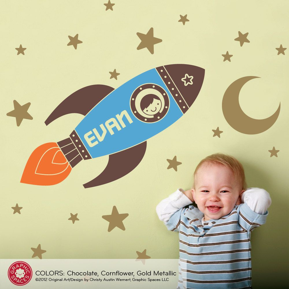 Rocket Wall Decal Boy\'s Name Outer Space Baby Nursery Personalized ...