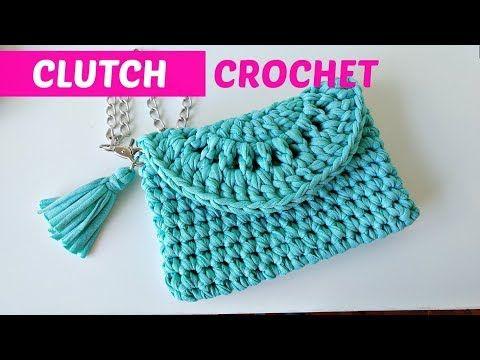 Clutch a crochet o bolso de mano fácil - YouTube #diybeauty