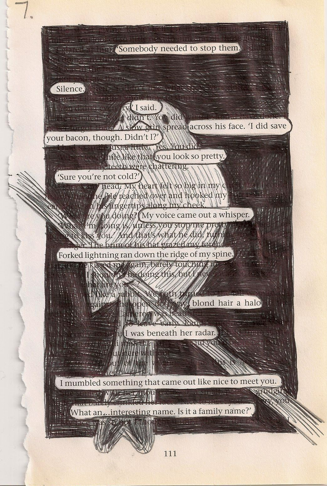 """""""You never know the whole story."""": Drawing on book pages - [idea in process] - Using pages from books to create something new."""