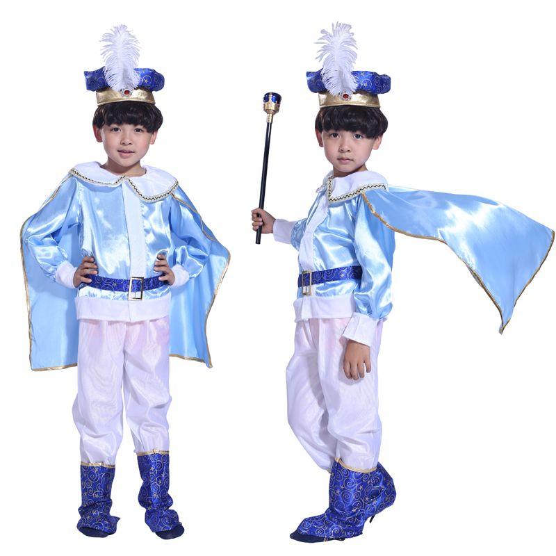 Halloween Christmas Children boy king handsome prince blue costume masquerade costumes performing  sc 1 st  Pinterest & Halloween Christmas Children boy king handsome prince blue costume ...
