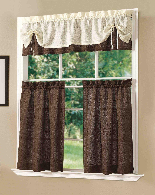 Amazon Com Dainty Home Sunrise Kitchen Curtain Set Chocolate