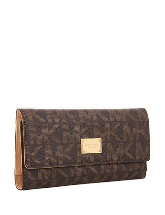 b71764dba8ed Michael Michael Kors Jet Set Logo Print Checkbook Flap Wallet in ...