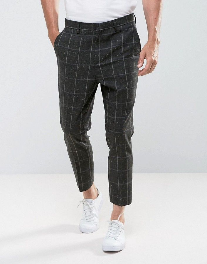ASOS Tapered Pants In Khaki Check With Nepp