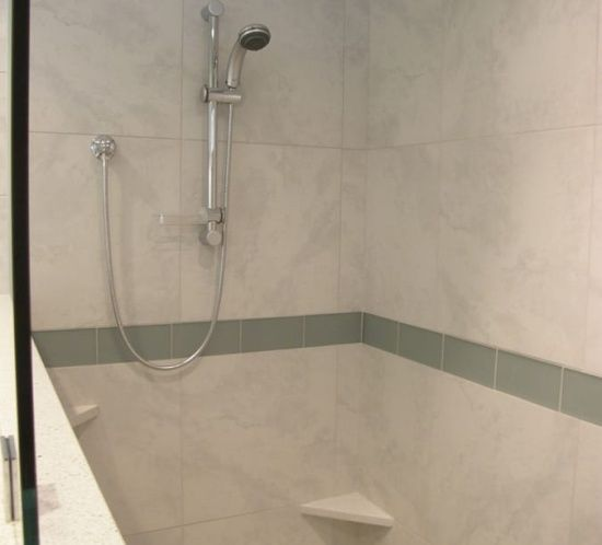 Custom Tile Shower Porcelain Gl Pebble Floor Walker Zanger Island Stone Contemporary Bath Grays Blues