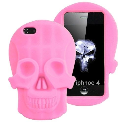 Vivid 3D Skull Design Protective Silicone Case for iPhone 4 4S Pink | eBay