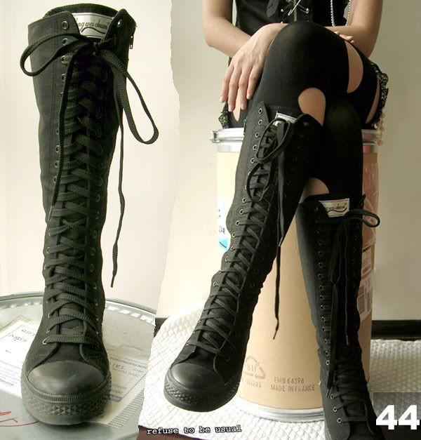 punk goth 20 hole knee high canvas sneaker black boots lackieren stiefel und matt. Black Bedroom Furniture Sets. Home Design Ideas