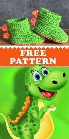 Crochet Pattern Dinosaur Baby Booties Free Crochet Dinosaur Baby Booties Pattern #crochetdinosaurpatterns