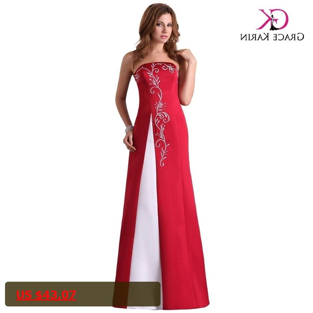 Cheap long red evening dresses grace karin satin abendkleider