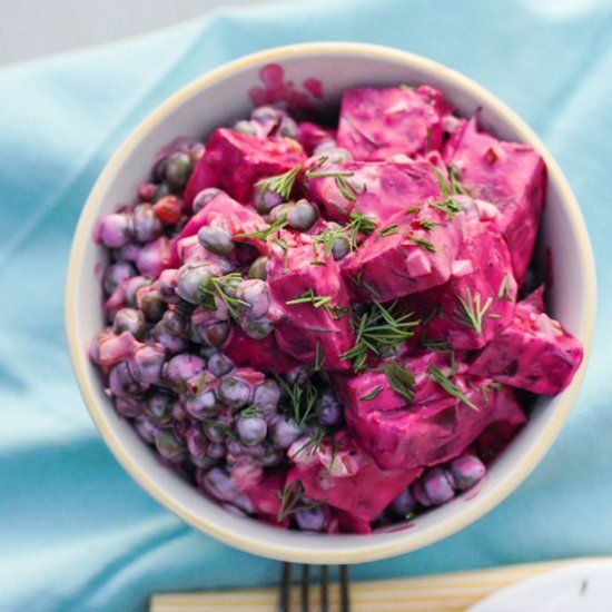 Spring Beet and Pea Salad with a wonderful yogurt dill dressing