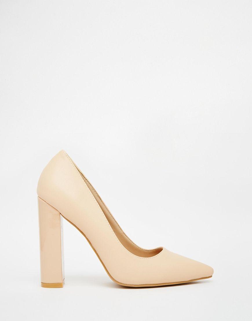 Nude Block Heel Shoes