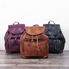 Women's Genuine Leather Backpack School Bag Travel Bag Vintage Rucksack