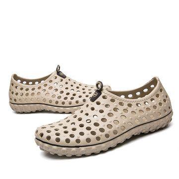 b1da4c528976cf Men Soft Hollow Out Beach Sandals Outdoor Garden Casual Waterproof Shoes
