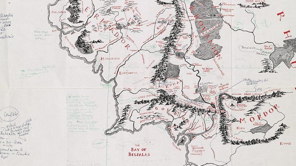 chris fletcher describes the notes jrr tolkien wrote on a map of middle earth